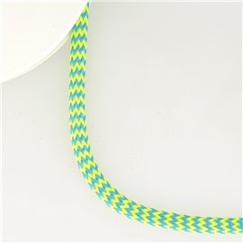 Bobine 25m tresse zigzag 8mm Jaune fluo/bleu