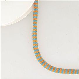 Bobine 25m tresse zigzag 8mm orang fluo/bleu