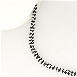 Bobine 25m tresse zigzag 8mm Noir/blanc