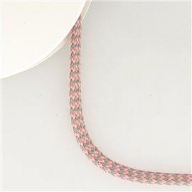 Bobine 25m tresse zigzag 8mm Gris/rose