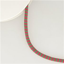 Bobine 25m tresse zigzag 8mm Anis/fuchsia