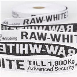 Film 25m sergé jacquard RAW WHITE 25mm Blanc/noir