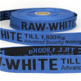 Film 25m sergé jacquard RAW WHITE 25mm Bleu/noir