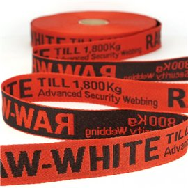 Film 25m sergé jacquard RAW WHITE 25mm Rouge/noir
