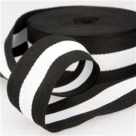 Film 25m galon stripes 40mm Noir/Blanc