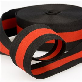 Film 25m galon stripes 40mm Noir/Rouge