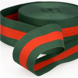 Film 25m galon stripes 40mm Vert/Rouge