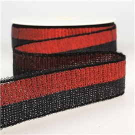 Bobine 13m Galon paillettes bicolore 32mm Rouge/noir