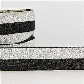 Bobine 22m Elastique bi-colore métal 10mm Noir/argent