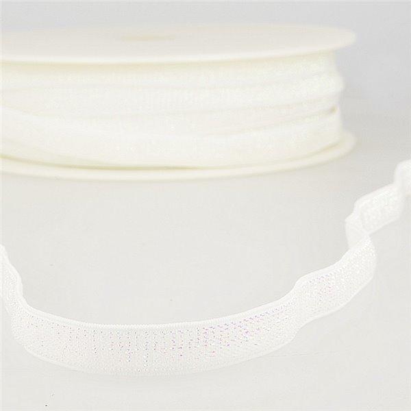 Bobine 30m Elastique métal lisière 10mm Blanc