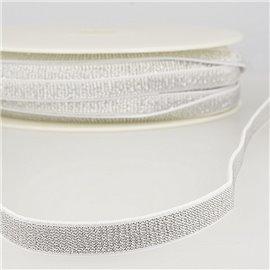Bobine 30m Elastique métal lisière 10mm Blanc/argent
