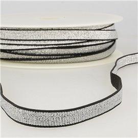 Bobine 30m Elastique métal lisière 10mm Noir/argent
