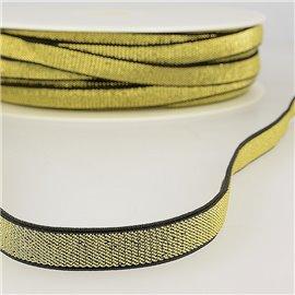 Bobine 30m Elastique métal lisière 10mm Noir/or
