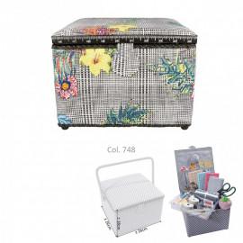 Petite boîte à couture carrée L26xH19cm fleurs tropicales