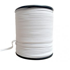 Tresse élastique 6 mm blanc 150 mètres Made in France