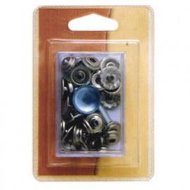 8 boutons pression 15mm noirs et outil