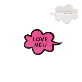 "Broche ""LOVE ME?"" 60x40mm fuchsia"