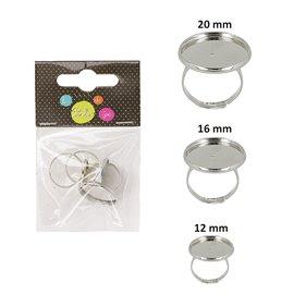 Sachet de 3 supports de bagues ronds 20mm, 16mm, 12mm argent