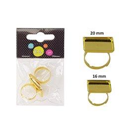Sachet de 3 supports de bagues carrés 20mm, 16mm, 12mm Or