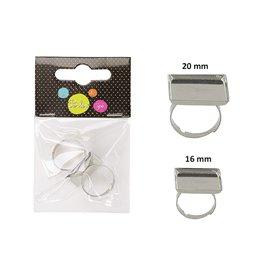 Sachet de 3 supports de bagues carrés 20mm, 16mm, 12mm argent