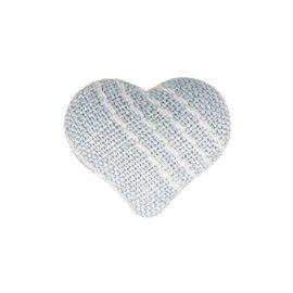 Bouton coeur tissus 22mm bleu