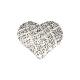 Bouton coeur tissus 22mm gris