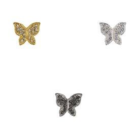 Bouton papillon strass 13mm